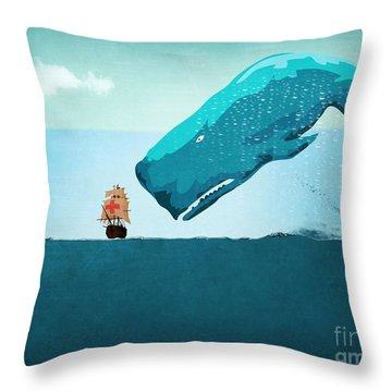 Whale Throw Pillow by Mark Ashkenazi