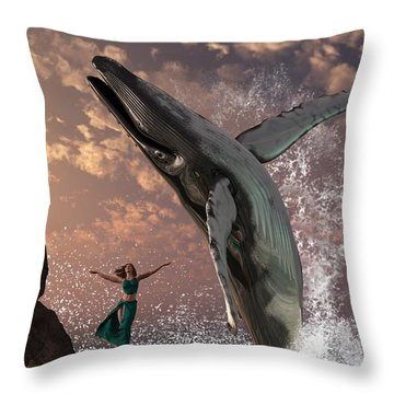 Whale Watcher Throw Pillow by Daniel Eskridge