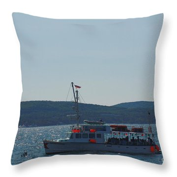 Whale Watching At Bar Harbor Throw Pillow by Dora Sofia Caputo Photographic Art and Design