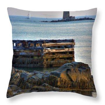 Whaleback Lighthouse Throw Pillow by Brett Pelletier