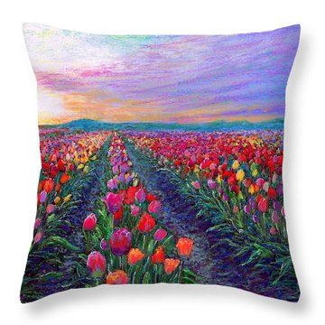 Tulip Fields, What Dreams May Come Throw Pillow by Jane Small