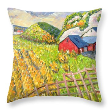 Wheat Harvest Kamouraska Quebec Throw Pillow by Patricia Eyre