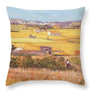 Wheatfields Throw Pillow by Vincent van Gogh