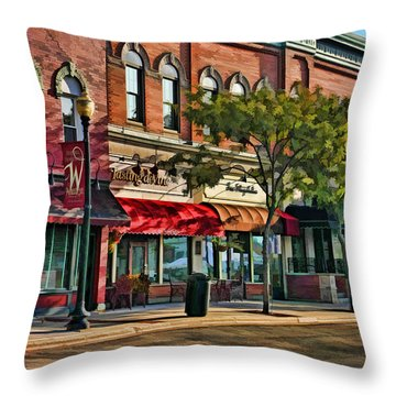Wheaton Front Street Stores Throw Pillow by Christopher Arndt