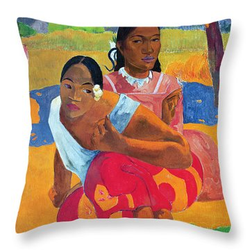When Are You Getting Married Throw Pillow by Paul Gauguin
