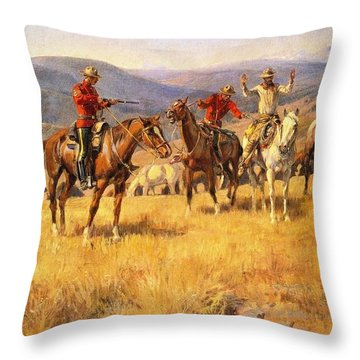 When Law Dulls The Edge Of Chance Throw Pillow by Charles Russell