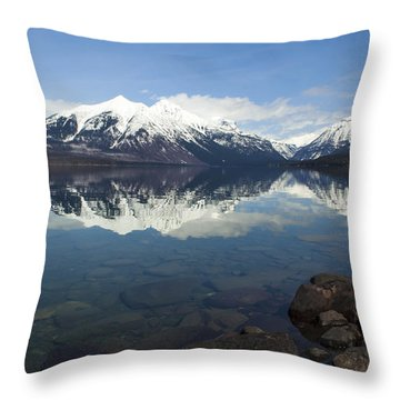 When The Sun Shines On Glacier National Park Throw Pillow by Fran Riley