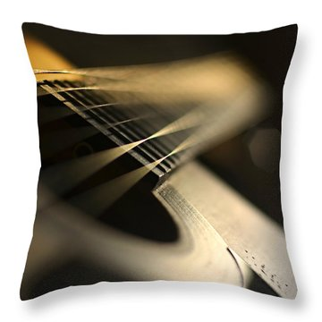 While My Guitar Gently Weeps Throw Pillow by Laura Fasulo