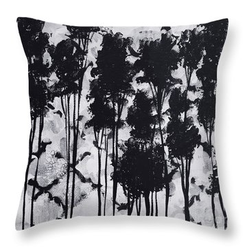 Whimsical Black And White Landscape Original Painting Decorative Contemporary Art By Madart Studios Throw Pillow by Megan Duncanson