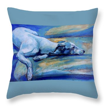 Whippet-effects Of Gravity-6 Throw Pillow by Derrick Higgins