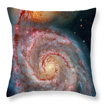 Whirlpool Galaxy In Dust Throw Pillow by Benjamin Yeager
