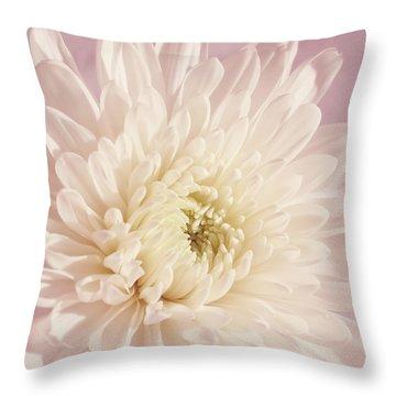 Whispering White Floral Throw Pillow by Kim Hojnacki