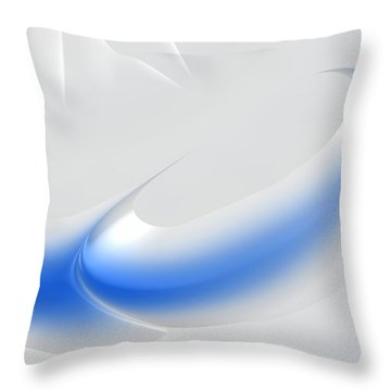 White And Blue Abstract Art Decorative Winter Color Theme Throw Pillow by Matthias Hauser
