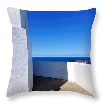 White And Blue To Ocean View Throw Pillow by Kaye Menner