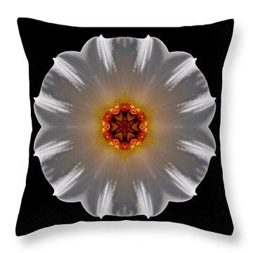 White And Orange Daffodil Flower Mandala Throw Pillow by David J Bookbinder