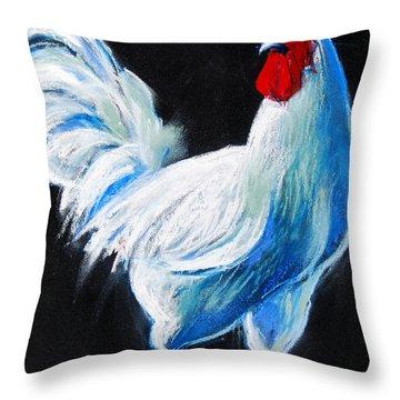 White Chicken Throw Pillow by Mona Edulesco