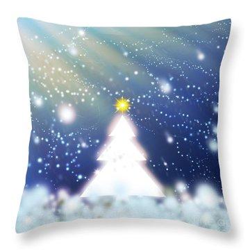 White Christmas Tree Throw Pillow by Atiketta Sangasaeng