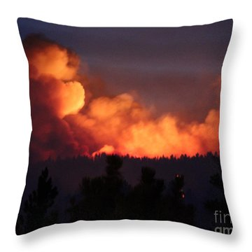 Throw Pillow featuring the photograph White Draw Fire First Night by Bill Gabbert