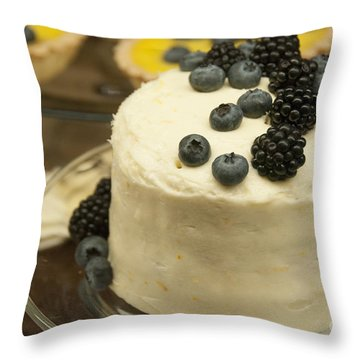 White Frosted Cake With Berries Throw Pillow by Juli Scalzi