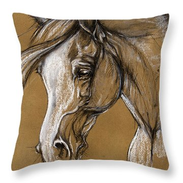 White Horse Soft Pastel Sketch Throw Pillow by Angel  Tarantella