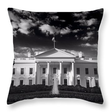 White House Sunrise B W Throw Pillow by Steve Gadomski