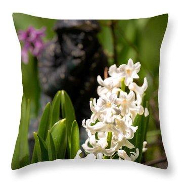 White Hyacinth In The Garden Throw Pillow by  Onyonet  Photo Studios