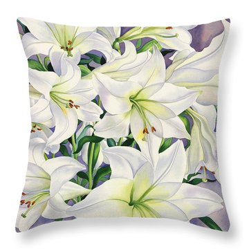 White Lilies Throw Pillow by Christopher Ryland
