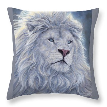 White Lion Throw Pillow by Lucie Bilodeau