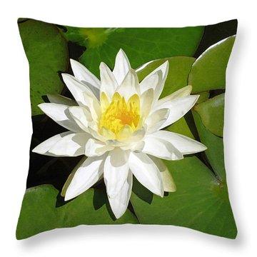 White Lotus Throw Pillow by Ellen Henneke