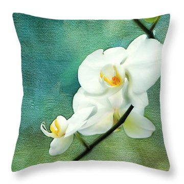 White Orchids Throw Pillow by Darren Fisher