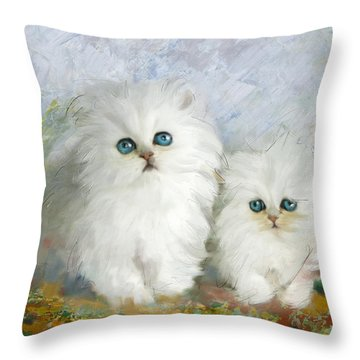 White Persian Kittens  Throw Pillow by Catf