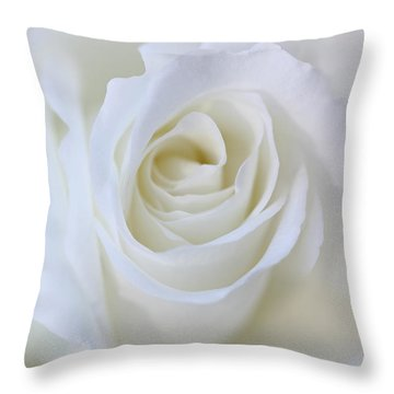 White Rose Floral Whispers Throw Pillow by Jennie Marie Schell