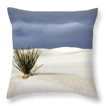 White Sands Dark Sky Throw Pillow by Bob Christopher