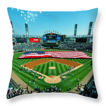 White Sox Opening Day Throw Pillow by Benjamin Yeager