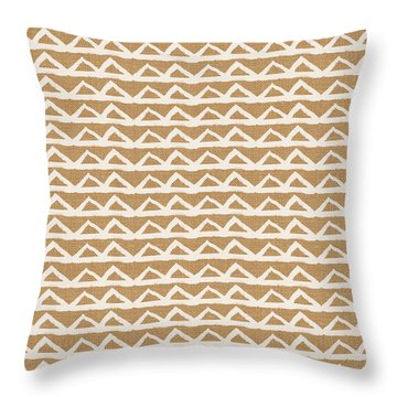 White Triangles On Burlap Throw Pillow by Linda Woods