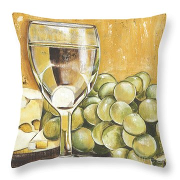 White Wine And Cheese Throw Pillow by Debbie DeWitt
