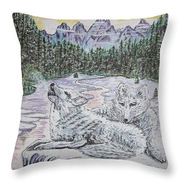 White Wolves Throw Pillow by Kathy Marrs Chandler