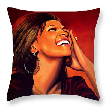 Whitney Houston Throw Pillow by Paul Meijering