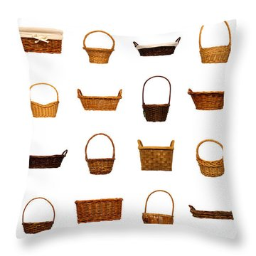 Wicker Basket Collection Throw Pillow by Olivier Le Queinec