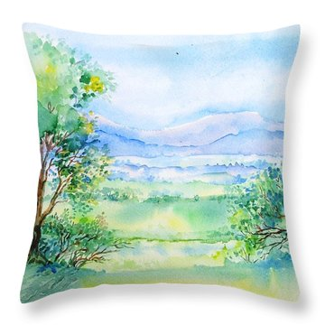 Wicklow Landscape In Summer Throw Pillow by Trudi Doyle