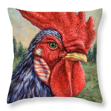 Wild Blue Rooster Throw Pillow by James W Johnson