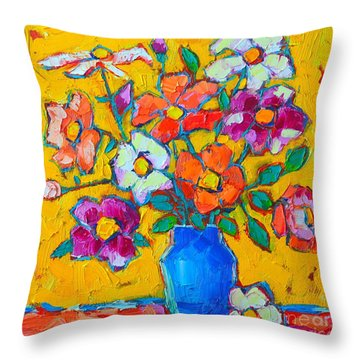 Wild Colorful Roses Throw Pillow by Ana Maria Edulescu