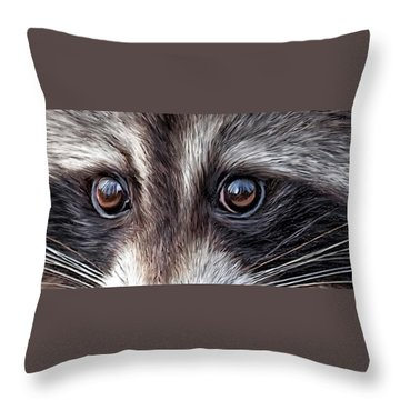 Wild Eyes - Raccoon Throw Pillow by Carol Cavalaris