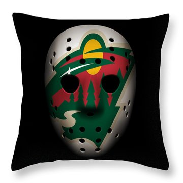 Wild Goalie Mask Throw Pillow by Joe Hamilton