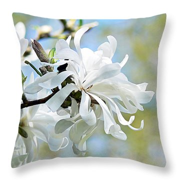 Wild Magnolia Blooms Throw Pillow by Pamela Patch