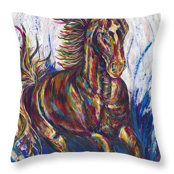 Wild Mustang Throw Pillow by Lovejoy Creations