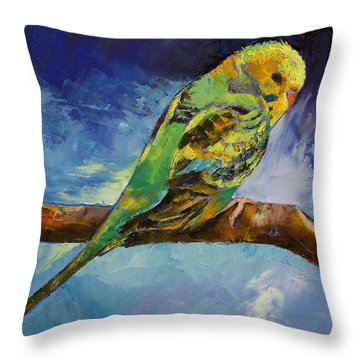Wild Parakeet Throw Pillow by Michael Creese