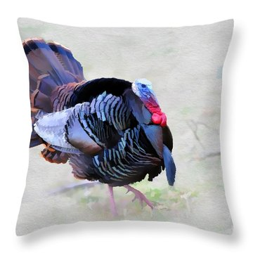 Wild Turkey Artistic Throw Pillow by Dan Friend