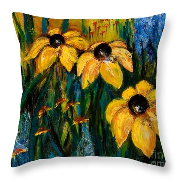 Wildflowers Throw Pillow by Larry Martin