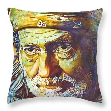 Willie Nelson-funny How Time Slips Away Throw Pillow by Joshua Morton